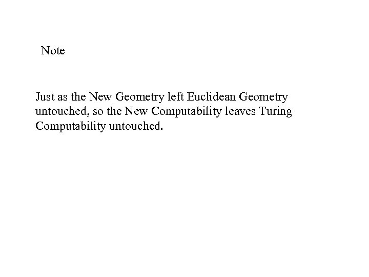 Note Just as the New Geometry left Euclidean Geometry untouched, so the New Computability