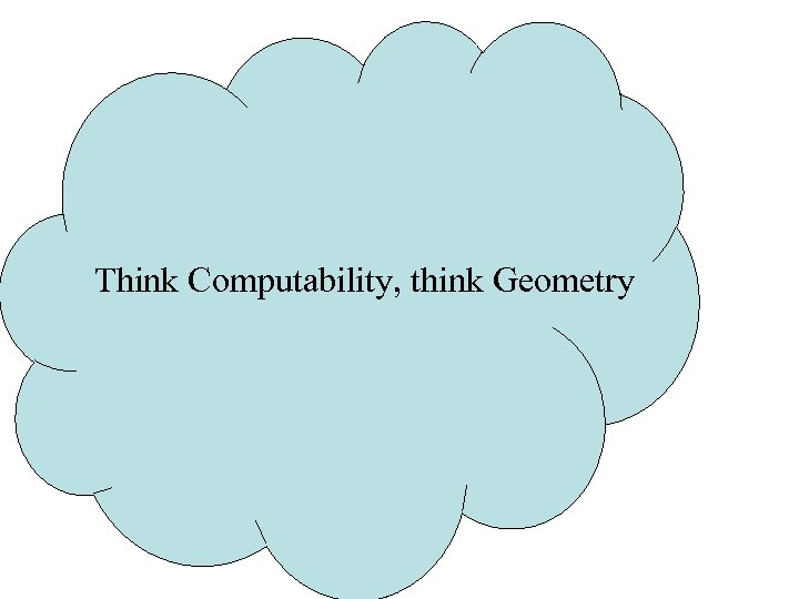 Think Computability, think Geometry