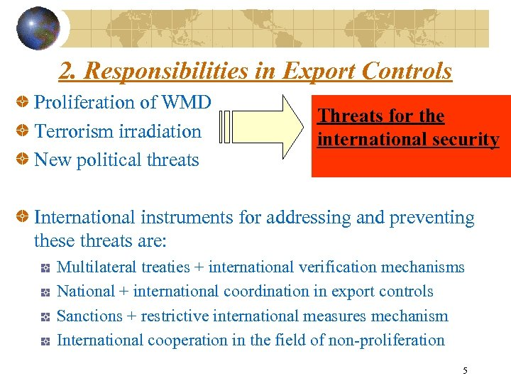 2. Responsibilities in Export Controls Proliferation of WMD Terrorism irradiation New political threats Threats