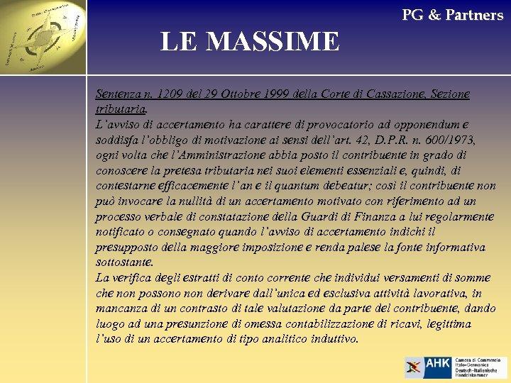 PG & Partners LE MASSIME Sentenza n. 1209 del 29 Ottobre 1999 della Corte
