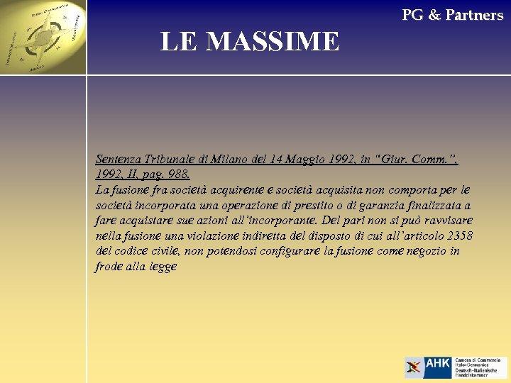 PG & Partners LE MASSIME Sentenza Tribunale di Milano del 14 Maggio 1992, in