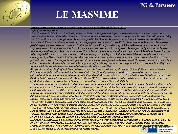 PG & Partners LE MASSIME Sentenza commissione tributaria provinciale di Pisa, sezione 3, n.