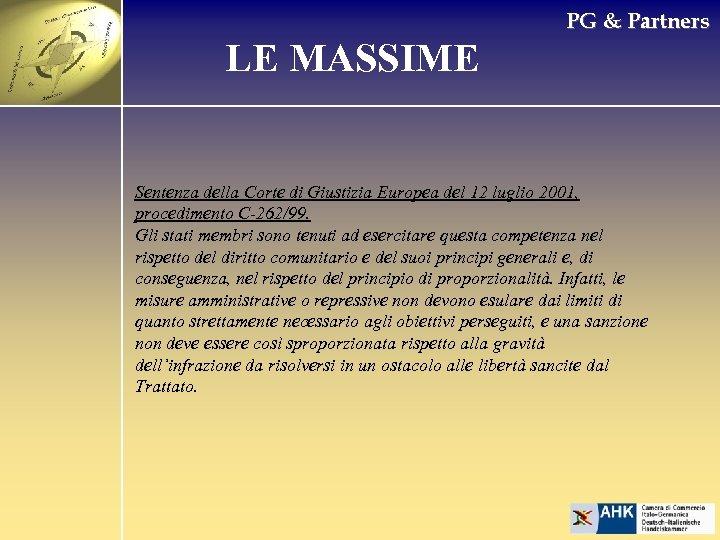 PG & Partners LE MASSIME Sentenza della Corte di Giustizia Europea del 12 luglio