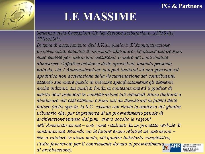 PG & Partners LE MASSIME Sentenza della Cassazione Civile, Sezione Tributaria, n. 21953 del