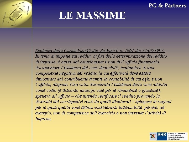 PG & Partners LE MASSIME Sentenza della Cassazione Civile, Sezione I, n. 7867 del