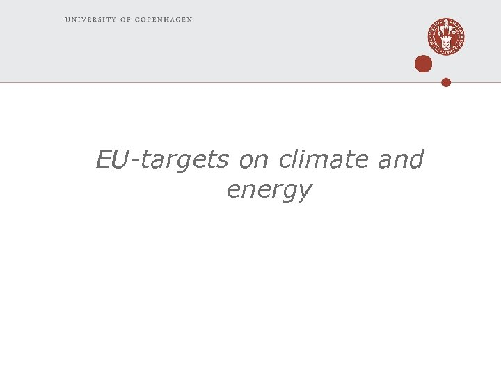 EU-targets on climate and energy