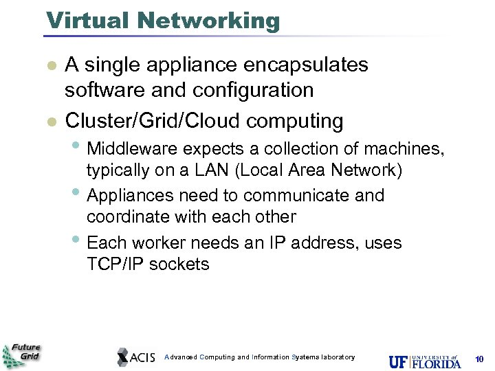 Virtual Networking l l A single appliance encapsulates software and configuration Cluster/Grid/Cloud computing •