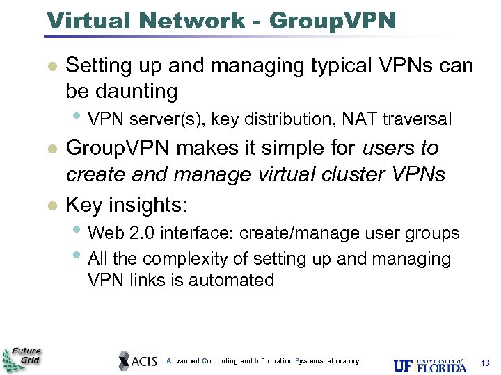 Virtual Network - Group. VPN l Setting up and managing typical VPNs can be