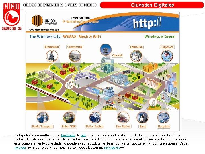 Ciudades Digitales La topología en malla es una topología de red en la que