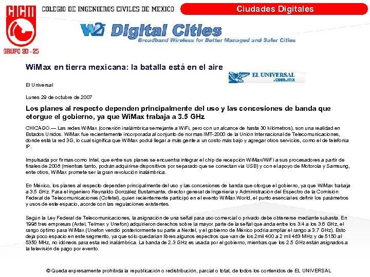 Ciudades Digitales Wi. Max en tierra mexicana: la batalla está en el aire El