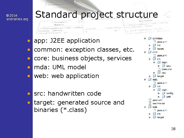 © 2014 andromda. org • • • Standard project structure app: J 2 EE