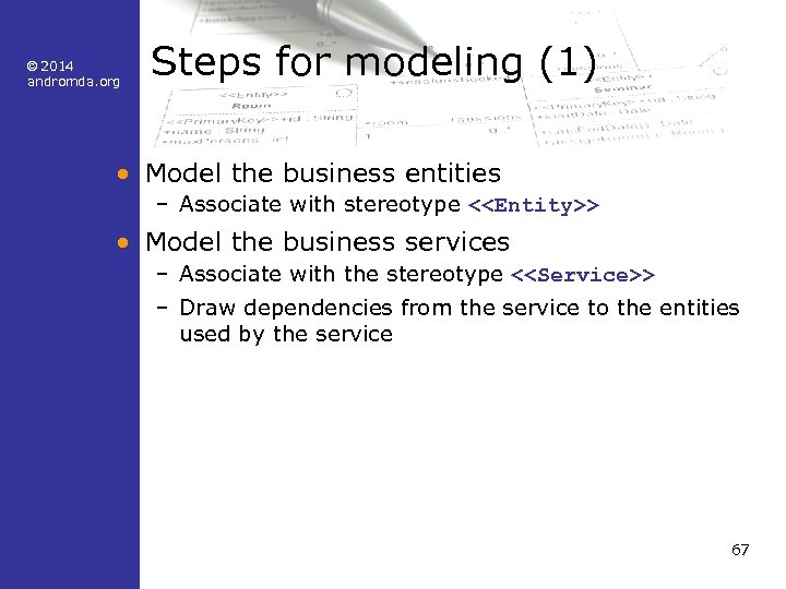 © 2014 andromda. org Steps for modeling (1) • Model the business entities –