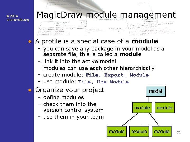 © 2014 andromda. org Magic. Draw module management • A profile is a special