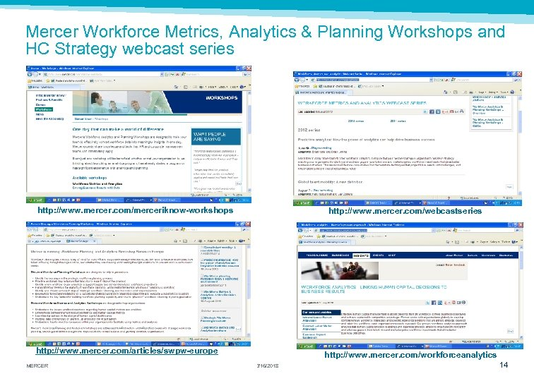 Mercer Workforce Metrics, Analytics & Planning Workshops and HC Strategy webcast series http: //www.