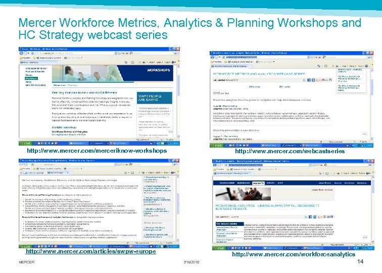 Mercer Workforce Metrics, Analytics & Planning Workshops and HC Strategy webcast series http: //www.