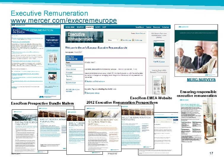 Executive Remuneration www. mercer. com/execremeurope MERG SURVEYS Exec. Rem Prespective Bundle Mailers MERCER Exec.