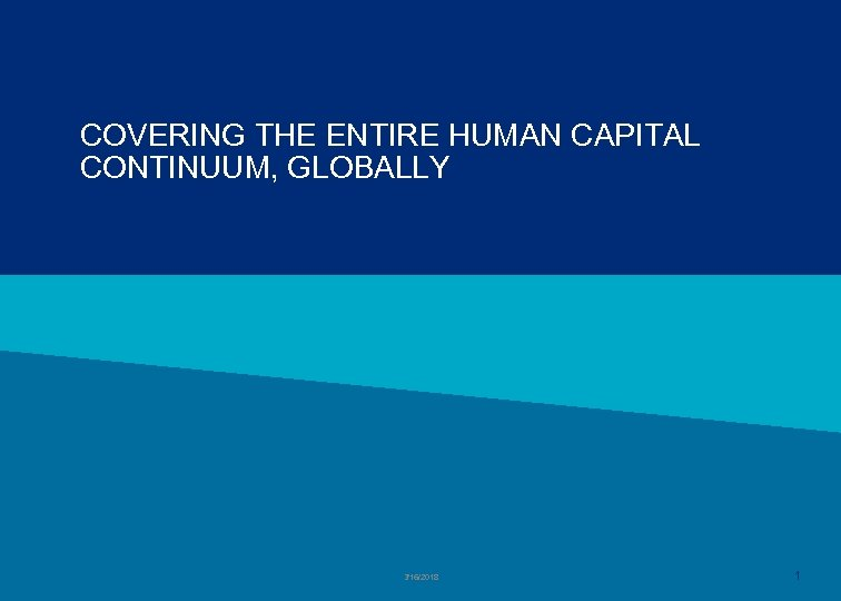 COVERING THE ENTIRE HUMAN CAPITAL CONTINUUM, GLOBALLY 3/16/2018 1