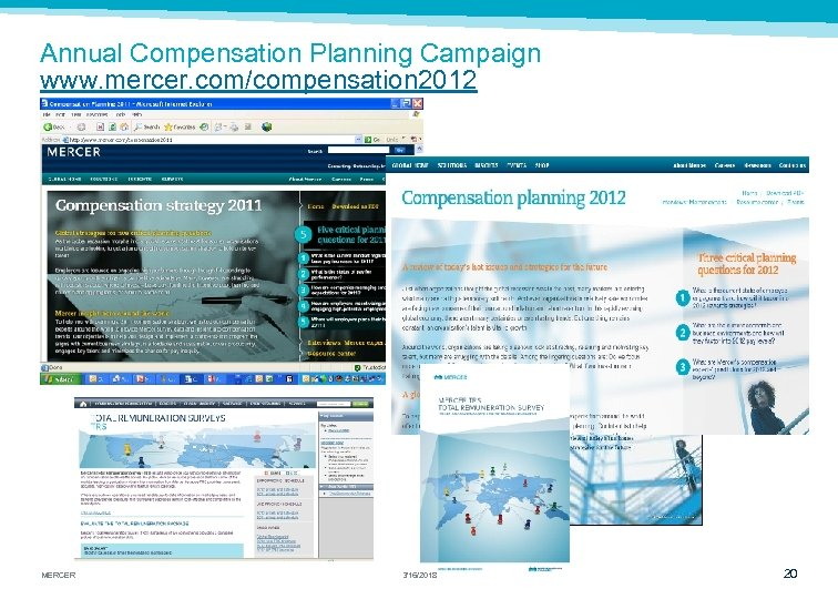 Annual Compensation Planning Campaign www. mercer. com/compensation 2012 MERCER 3/16/2018 20