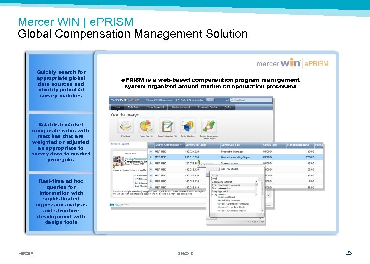 Mercer WIN | e. PRISM Global Compensation Management Solution Quickly search for appropriate global