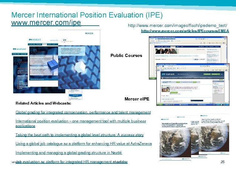 Mercer International Position Evaluation (IPE) www. mercer. com/ipe http: //www. mercer. com/images/flash/ipedemo_test/ http: //www.