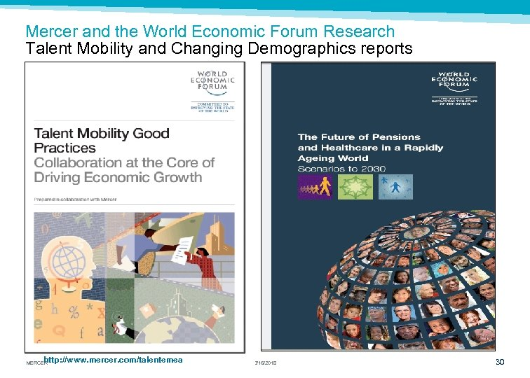 Mercer and the World Economic Forum Research Talent Mobility and Changing Demographics reports http: