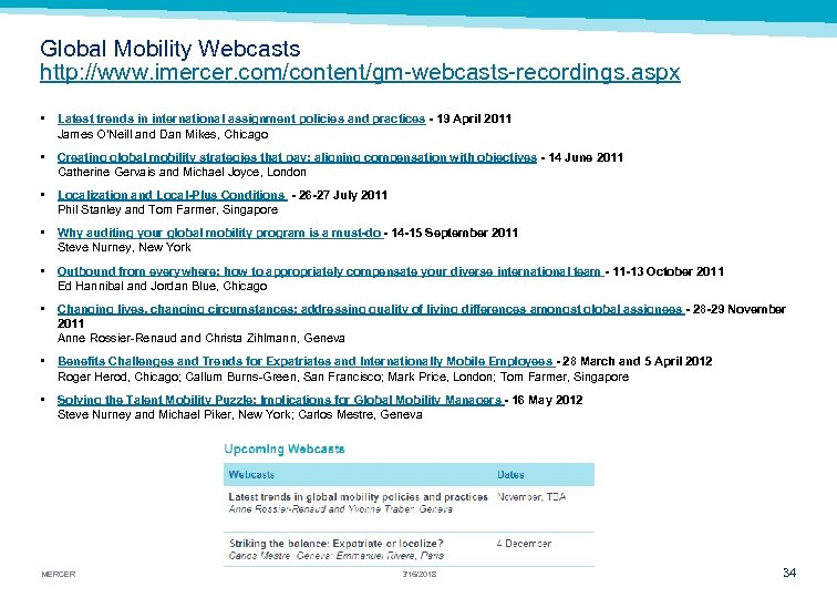 Global Mobility Webcasts http: //www. imercer. com/content/gm-webcasts-recordings. aspx • Latest trends in international assignment