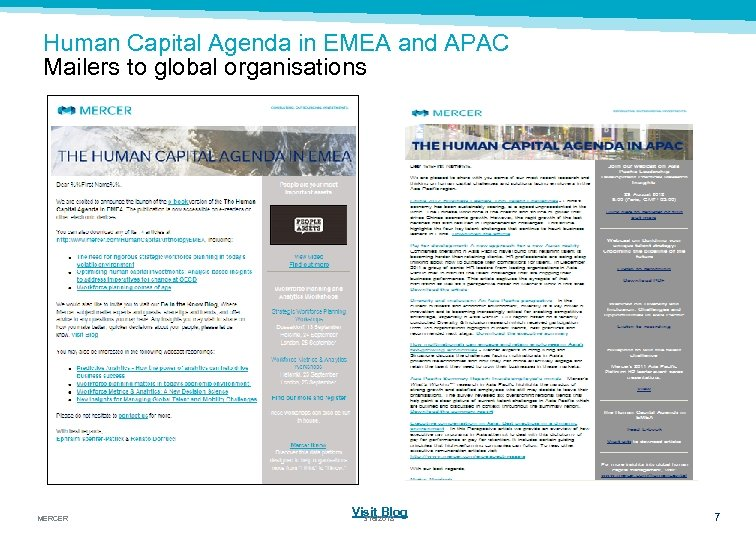 Human Capital Agenda in EMEA and APAC Mailers to global organisations MERCER Visit Blog