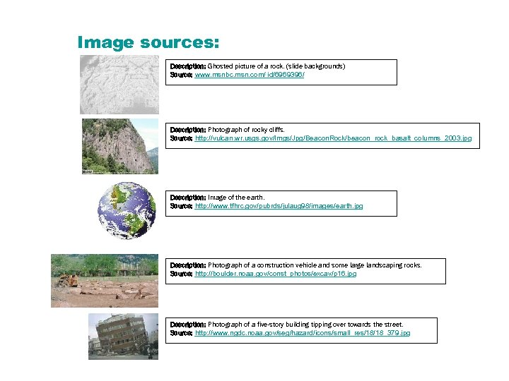 Image sources: Description: Ghosted picture of a rock. (slide backgrounds) Source: www. msnbc. msn.