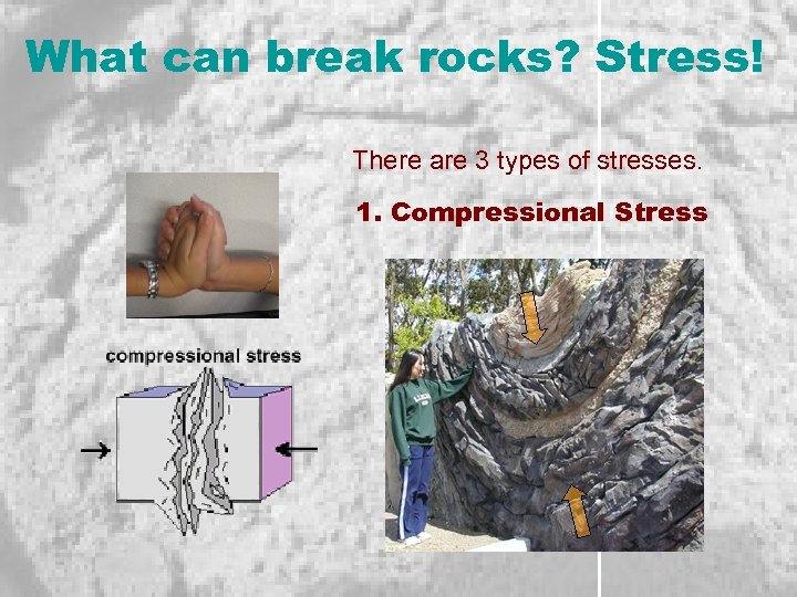 What can break rocks? Stress! There are 3 types of stresses. 1. Compressional Stress