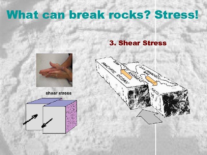 What can break rocks? Stress! 3. Shear Stress