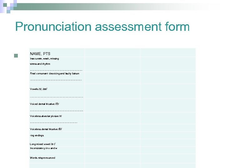 Pronunciation assessment form n NAME, PTS Inaccurate, weak, missing stress and rhythm ……………………………