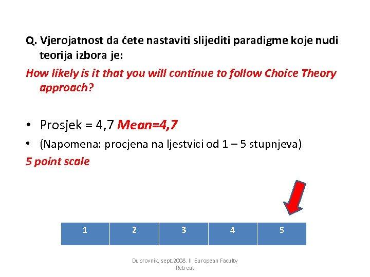 Q. Vjerojatnost da ćete nastaviti slijediti paradigme koje nudi teorija izbora je: How likely
