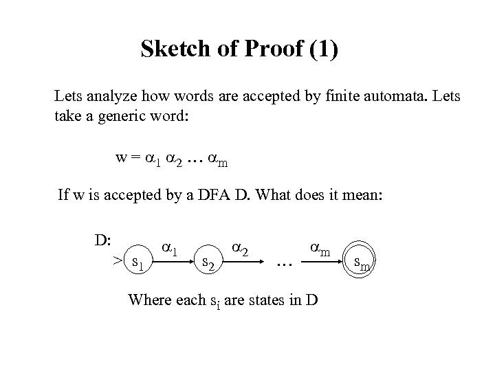 Sketch of Proof (1) Lets analyze how words are accepted by finite automata. Lets