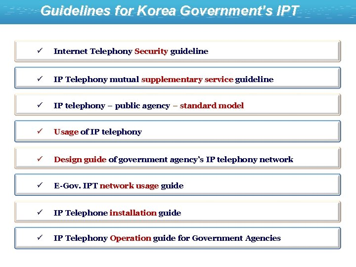 Guidelines for Korea Government's IPT ü Internet Telephony Security guideline ü IP Telephony mutual