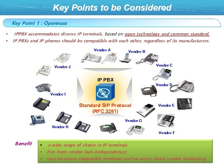 Key Points to be Considered Key Point 1 : Openness IPPBX accommodates diverse IP
