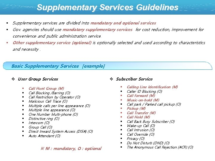 Supplementary Services Guidelines § Supplementary services are divided into mandatory and optional services §