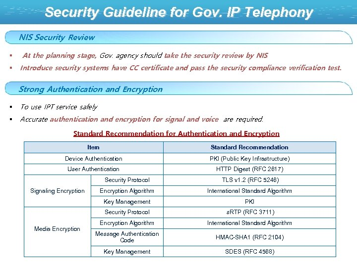 Security Guideline for Gov. IP Telephony NIS Security Review § At the planning stage,