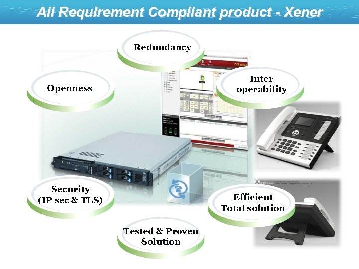 All Requirement Compliant product - Xener Redundancy Inter operability Openness Security (IP sec &