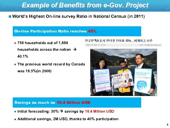 Example of Benefits from e-Gov. Project World's Highest On-line survey Ratio in National Census