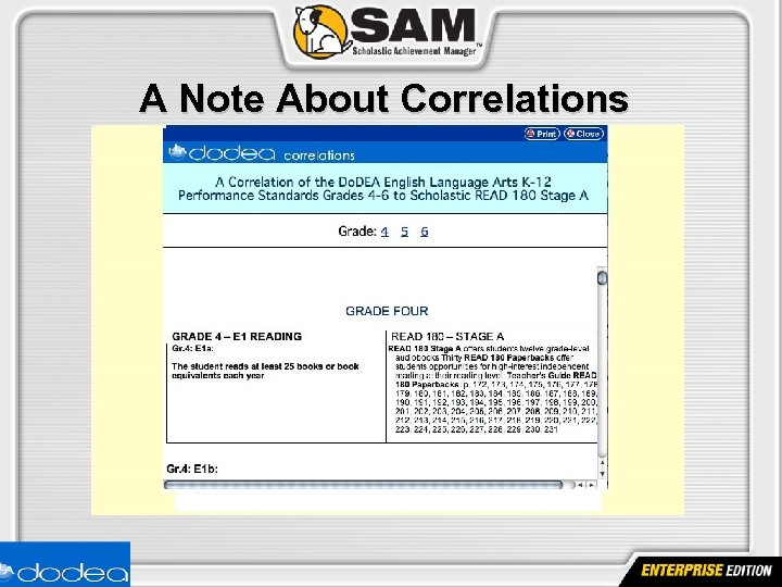 A Note About Correlations www. scholastic. com/dodea