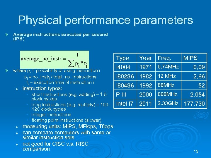 Physical performance parameters Ø Average instructions executed per second (IPS) Type where pi =