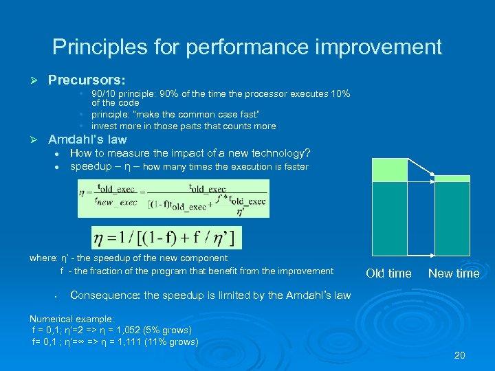 Principles for performance improvement Ø Precursors: • 90/10 principle: 90% of the time the