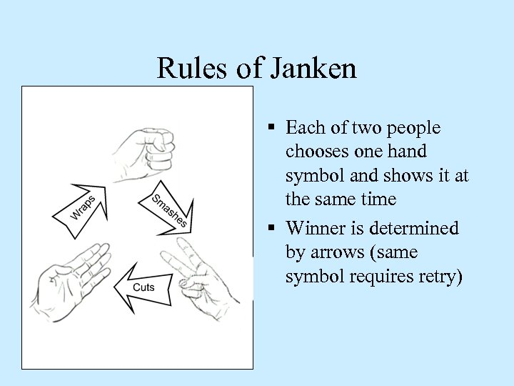 Rules of Janken § Each of two people chooses one hand symbol and shows