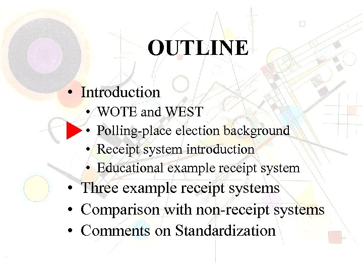 OUTLINE • Introduction • • WOTE and WEST Polling-place election background Receipt system introduction