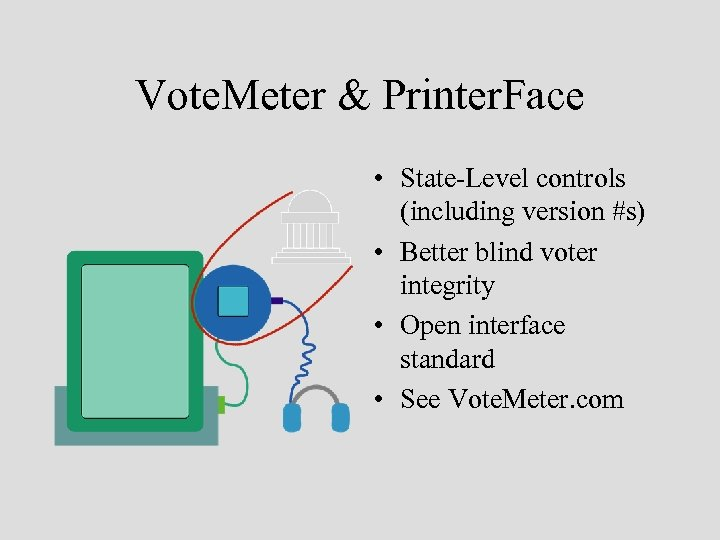 Vote. Meter & Printer. Face • State-Level controls (including version #s) • Better blind