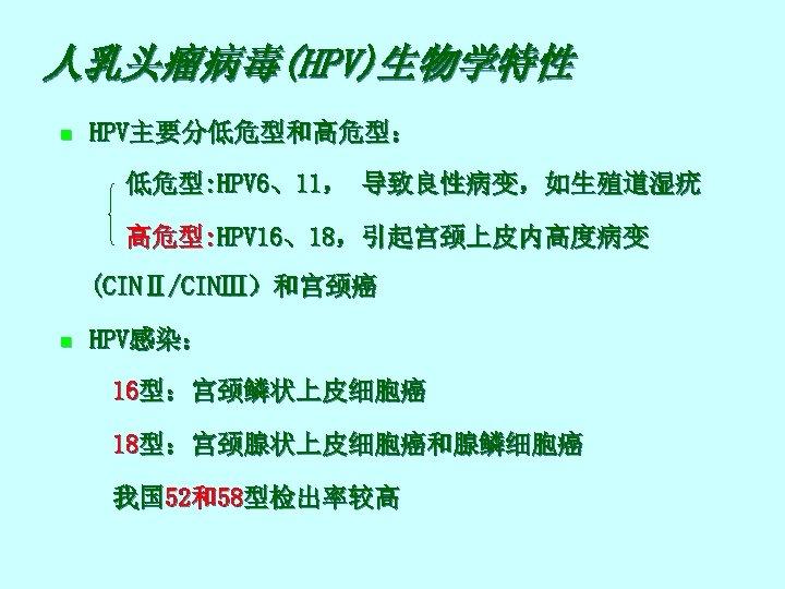 人乳头瘤病毒(HPV)生物学特性 n HPV主要分低危型和高危型: 低危型: HPV 6、11, 导致良性病变,如生殖道湿疣 高危型: HPV 16、18,引起宫颈上皮内高度病变 (CINⅡ/CINⅢ)和宫颈癌 n HPV感染: 16型:宫颈鳞状上皮细胞癌
