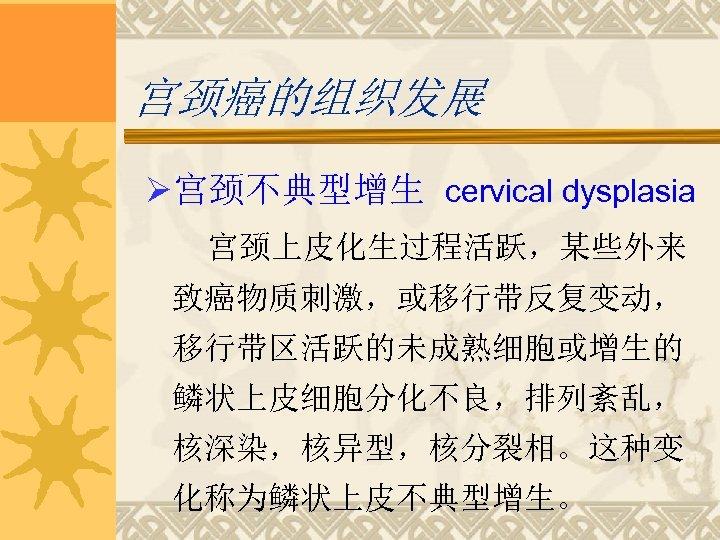 宫颈癌的组织发展 Ø宫颈不典型增生 cervical dysplasia 宫颈上皮化生过程活跃,某些外来 致癌物质刺激,或移行带反复变动, 移行带区活跃的未成熟细胞或增生的 鳞状上皮细胞分化不良,排列紊乱, 核深染,核异型,核分裂相。这种变 化称为鳞状上皮不典型增生。