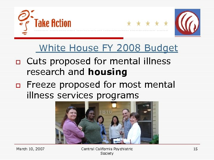 o o White House FY 2008 Budget Cuts proposed for mental illness research and