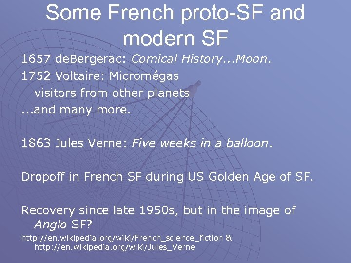 Some French proto-SF and modern SF 1657 de. Bergerac: Comical History. . . Moon.