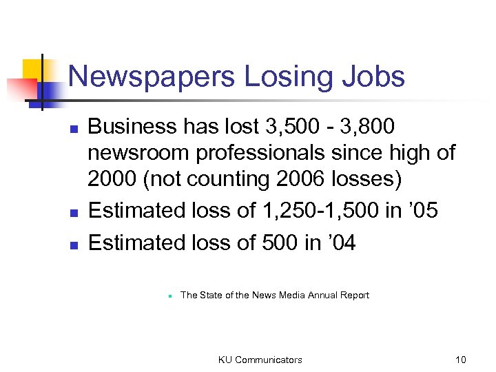 Newspapers Losing Jobs n n n Business has lost 3, 500 - 3, 800